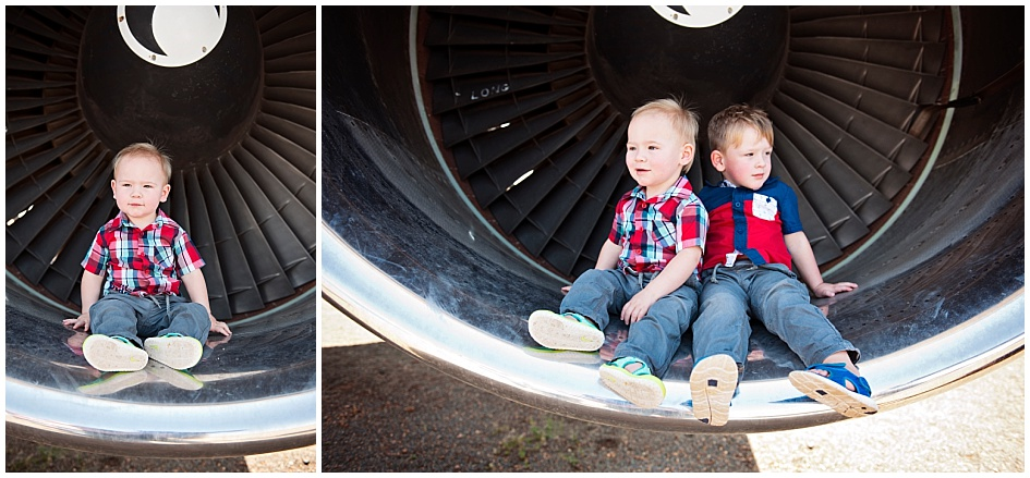 Kids and Toddler Shoot Airplane - Brothers sitting for an Airplane themed shoot