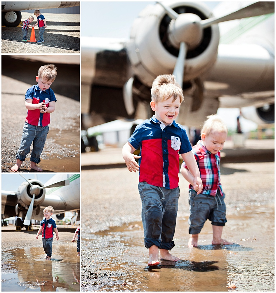 Kids and Toddler Shoot Airplane - Hand in hand, little and big brother.