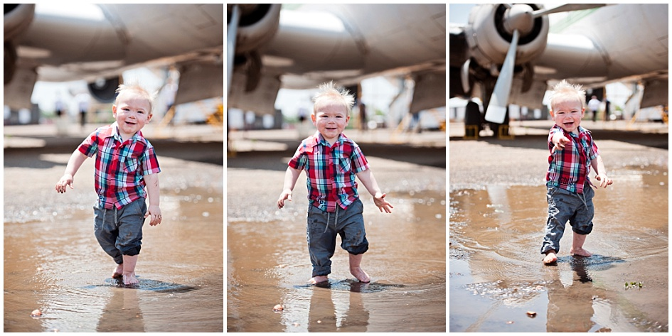 Kids and Toddler Shoot Airplane - Playing in the puddles